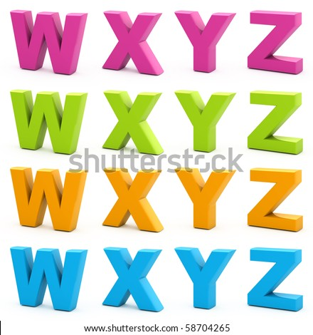 Colorful alphabet. Set of 3d letters isolated on white. Part 6 of 6.