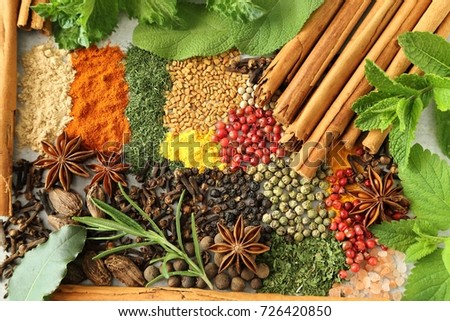 Colorful and aromatic spices and herbs. Food additives. #726420850