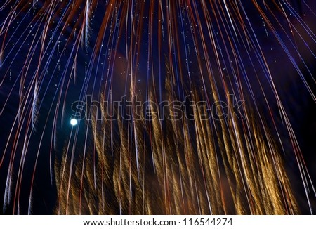 Colorful and beautiful Fireworks lights and the moon in dark background, Malta, fireworks festival abstract view in Malta, fireworks light, popular fireworks in Malta, light art, 4 of July background