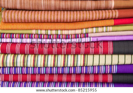 colorful and heap of Thai style native clothing