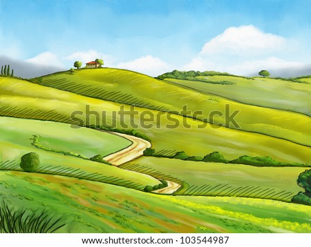 Colorful and relaxing rural landscape. Digital illustration.