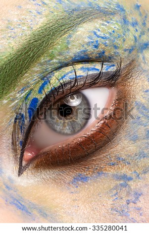 Colorful and stylish make-up eyes close up - Shutterstock ID 335280041