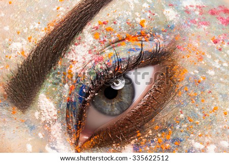 Colorful and stylish make-up eyes close up - Shutterstock ID 335622512