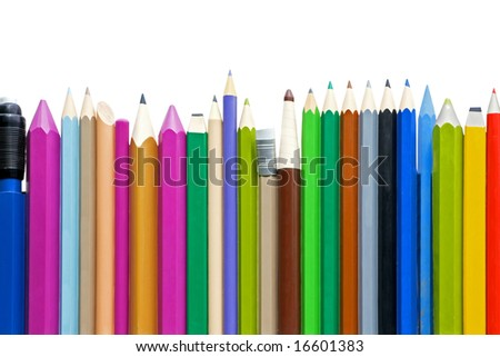 Colorful and vibrant pencils in row isolated