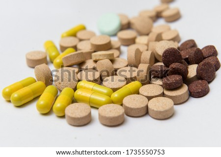 Colorful antibiotic drug capsule pills Zdjęcia stock ©