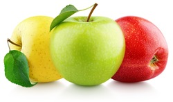 Colorful apples with leaves isolated on white background. Red, green, yellow apples with clipping path. Full Depth of Field