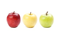 Colorful apples. Yellow, red, green colored fruits. Different colors concept. Various fresh ripe apples macro view. white background