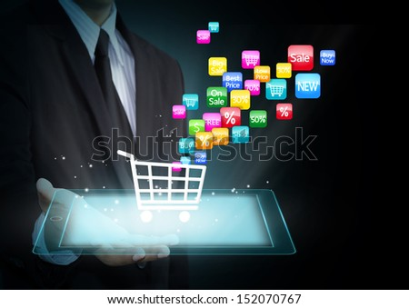 Colorful application icon concept and the shopping cart