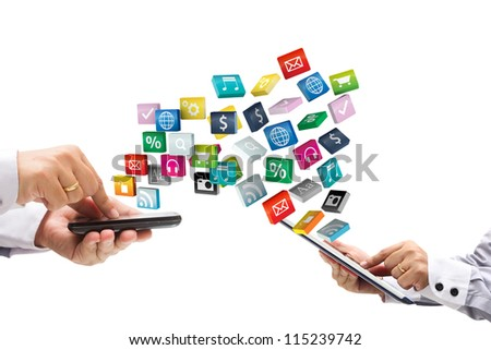 colorful application icons with Hand holding the phone and tablet pc, isolated on white background