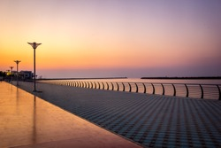 Colorful Arabian evening in a beach-side at Ajman, United Arab Emirates