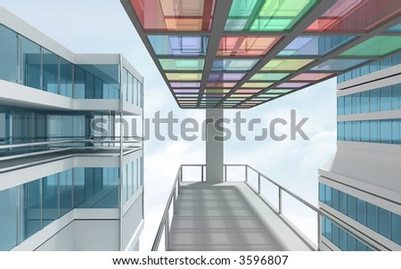 colorful architecture 3d render