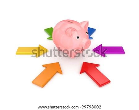 Colorful arrows around pink piggy bank.Isolated on white background.3d rendered.