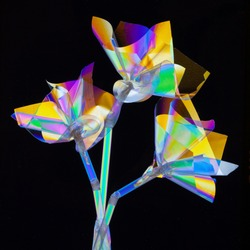 Colorful art flowers using cross polarization technique made from clear plastic drinking straws and cellophane. Polarized light shows the stress in the plastics.