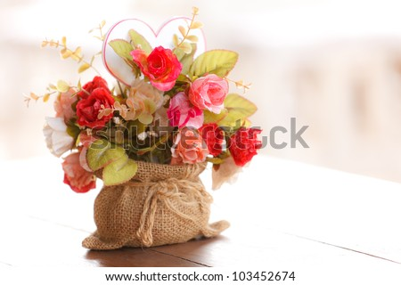 Colorful artificial flowers made from cloth