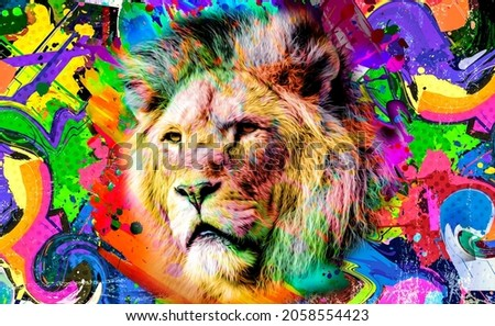 Colorful artistic lioness muzzle with bright paint splatters on dark background