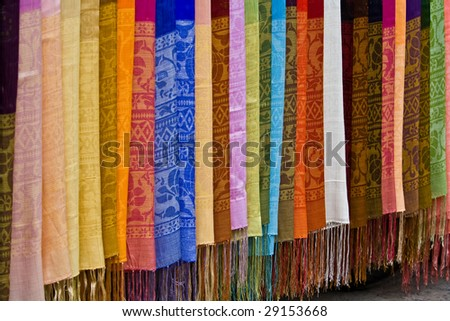 Colorful Asian silk for sale in a street market