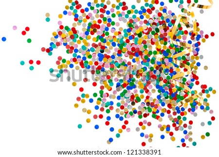 colorful assorted confetti with golden serpentine on white background. red, blue, green, yellow, pink, gold