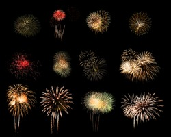 Colorful assorted fireworks selection on a black background.