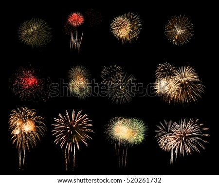 Colorful assorted fireworks selection on a black background. #520261732