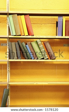 Colorful assortment of library books - no book titles are present