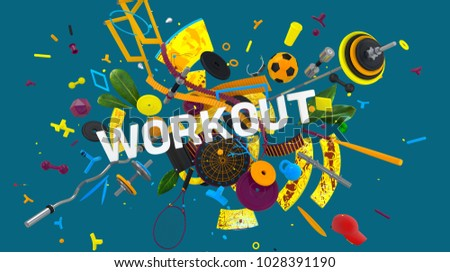 Colorful attractive 3D rendered composition with word Workout and many different sport objects and abstract shapes