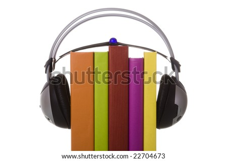 colorful audio book concept with headphones and books (isolated on white)