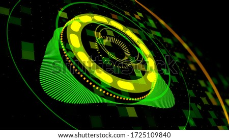 Colorful audio equalizer of green color on black background, seamless loop. Animation. Concept of night clubs, dance stage, parties, events, performances, audiovisual shows, electronic music concert. stock photo
