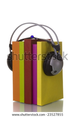 colorful audiobook concept with headphones and books (isolated on white)