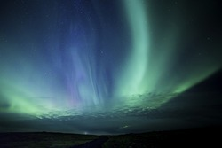 Colorful Aurora display in western Iceland