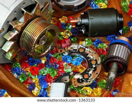 Colorful auto spare parts close-up still life