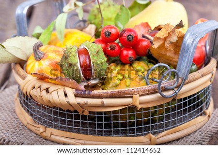 colorful autumn decoration on wooden table, a basket filled with autumn stuff (pumpkins, chestnuts, pear, nuts, leaves and rose hips)
