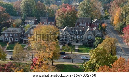 Colorful autumn foliage in suburban area, vintage villas and mansions in residential district, houses hidden in trees, luxury real estate with fancy backyards #1569392758