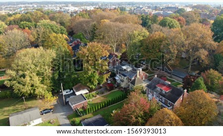 Colorful autumn foliage in suburban area, vintage villas and mansions in residential district, houses hidden in trees, luxury real estate with fancy backyards #1569393013