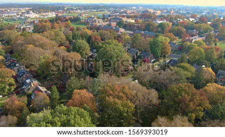 Colorful autumn foliage in suburban area, vintage villas and mansions in residential district, houses hidden in trees, luxury real estate with fancy backyards #1569393019