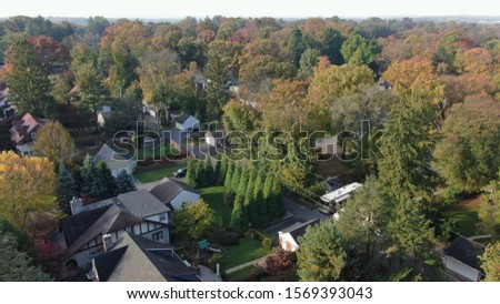 Colorful autumn foliage in suburban area, vintage villas and mansions in residential district, houses hidden in trees, luxury real estate with fancy backyards #1569393043