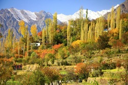 Colorful autumn landscape at the remote village of Karakorum mountain range in Hunza, Nagar district, North of Pakistan