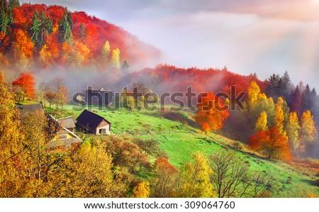 Colorful autumn landscape in the mountain village. Foggy morning in the Carpathian mountains. Sokilsky ridge, Ukraine, Europe.  Foto stock ©