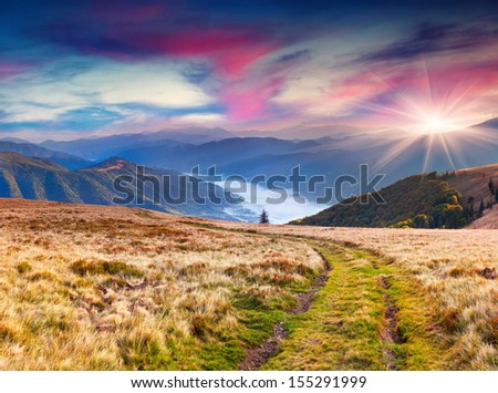 Colorful autumn landscape in the mountains. Sunrise #155291999