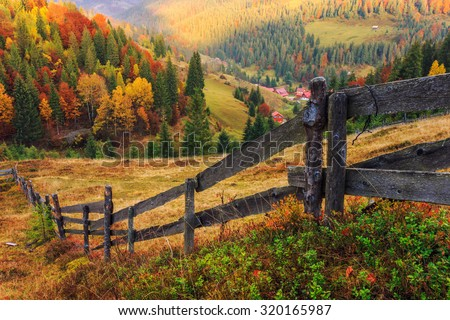 Colorful autumn landscape scene with fence in Transylvania mountain-Romania Foto stock ©