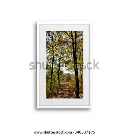 Colorful autumn landscape, scenery poster in frame