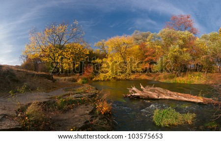 Colorful autumn landscape with wood river. Panorama