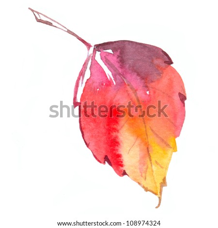 colorful autumn leaf isolated on white background. watercolor illustration