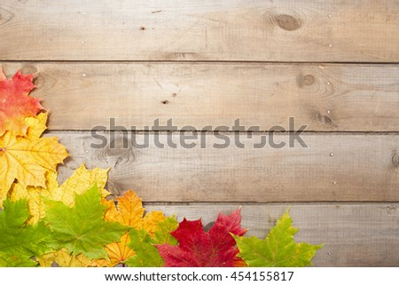 colorful autumn maple leaves on wood cloth background #454155817