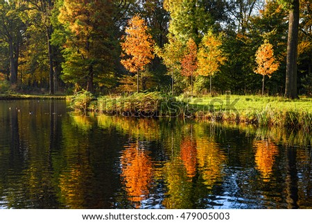 Colorful autumn reflected in the water - stock photo