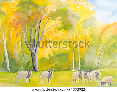 colorful autumn sheep-run - original painting watercolor on paper