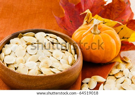 Colorful autumn still life of toasted pumpkin seeds in a wooden bowl with copy-space