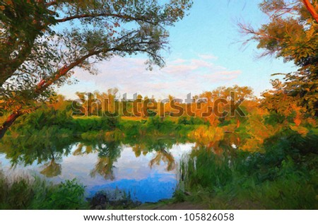 Colorful autumn trees reflected at the small pond. Digital structure of painting.