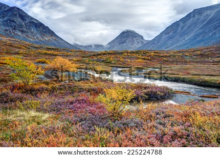 Colorful autumn tundra in front of the Malaya Belaya river bend in Hibiny mountains above the Arctic Circle, Russia