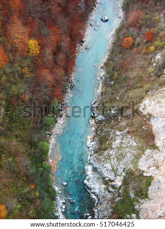 Colorful autumn with a view on the canyon of the river Tara in Montenegro from above.