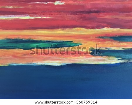 Colorful background, abstract painting, sea and sky acrylic color painting on canvas  #560759314